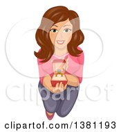 Clipart Of A Brunette Caucasian Woman Kneeling Looking Up And Proposing Royalty Free Vector Illustration