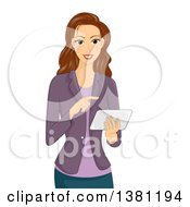 Clipart Of A Happy Brunette Caucasian Woman Using A Tablet Computer Royalty Free Vector Illustration