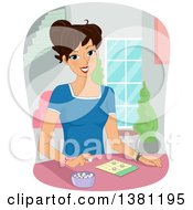 Clipart Of A Happy Brunette White Woman Playing A Game Of Bingo Royalty Free Vector Illustration
