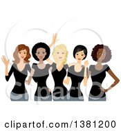Clipart Of A Group Of Happy Diverse Women Wearing Matching Black T Shirts Royalty Free Vector Illustration