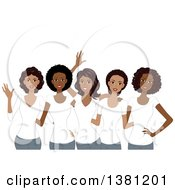 Clipart Of A Group Of Happy Black Women Wearing Matching White T Shirts Royalty Free Vector Illustration by BNP Design Studio