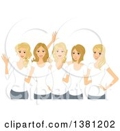 Clipart Of A Group Of Happy Blond White Women Wearing Matching White T Shirts Royalty Free Vector Illustration