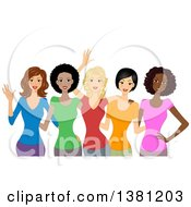 Clipart Of A Group Of Happy Diverse Women Wearing Colorful T Shirts Royalty Free Vector Illustration by BNP Design Studio #COLLC1381203-0148