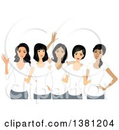 Clipart Of A Group Of Happy Women Wearing Matching White T Shirts Royalty Free Vector Illustration