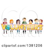 Group Of People Holding Up Volunteers Text