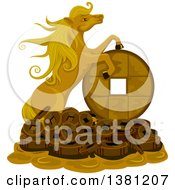 Clipart Of A Gold Lucky Horse On A Pile Of Coins Royalty Free Vector Illustration