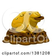 Clipart Of A Gold Lucky Frog On A Pile Of Coins Royalty Free Vector Illustration