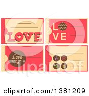 Clipart Of Romantic Valentines Day Coupons Royalty Free Vector Illustration