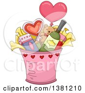Clipart Of A Valentines Day Bucket With Gifts Royalty Free Vector Illustration
