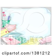 Valentines Day Background Of A Piece Of Paper With Love Letters And Envelopes