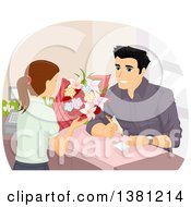 Man Purchasing Flowers And Writing A Personal Note