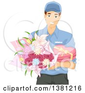 Clipart Of A Caucasian Man Delivering Valentines Day Chocolates And Flowers Royalty Free Vector Illustration by BNP Design Studio