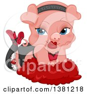 Clipart Of A Seductive Female Pig Pinup Posing On Feathers Royalty Free Vector Illustration