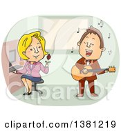 Cartoon Singing Telegram Man And Blond White Woman In An Office