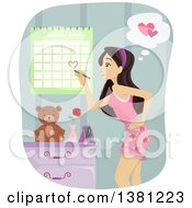 Clipart Of A Teenage Girl Marking Her Calendar For Valentines Day Or An Anniversary Royalty Free Vector Illustration by BNP Design Studio