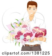 Clipart Of A Romantic Brunette Caucasian Man Holding Valentines Day Flowers And Chocolates Royalty Free Vector Illustration