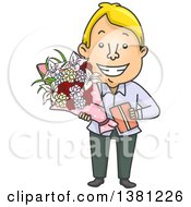 Clipart Of A Cartoon Romantic Blond Caucasian Man Giving A Gift And Flowers On Valentines Day Royalty Free Vector Illustration by BNP Design Studio