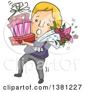 Cartoon Clumsy Romantic Blond Caucasian Man Carrying Gifts And Flowers On Valentines Day