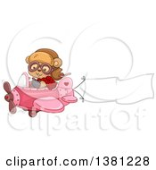 Clipart Of A Cute Female Bear Flying A Pink Valentines Day Airplane With A Trailing Banner Royalty Free Vector Illustration by BNP Design Studio