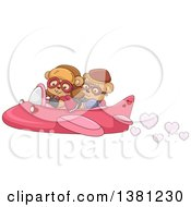 Cute Bear Couple Flying In A Valentines Day Airplane