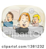 Cartoon Group Of Colleagues Doing An Exercise In An Office