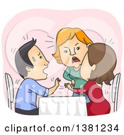 Clipart Of A Cartoon Woman Confronting Her Cheating Boyfriend And Another Lady At A Restaurant Royalty Free Vector Illustration