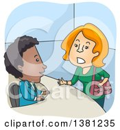 Clipart Of A Cartoon Red Haired White Female Customer Complaining To A Black Man At A Help Desk Royalty Free Vector Illustration