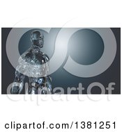 Clipart Of A 3d Glass Or Ice Man On A Blue Background Royalty Free Illustration by Julos