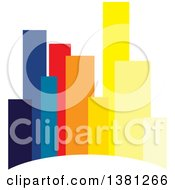 Clipart Of A City With Colorful Highrise Buildings Royalty Free Vector Illustration