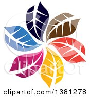 Clipart Of A Circle Of Colorful Leaves Royalty Free Vector Illustration by ColorMagic