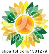 Clipart Of A Sunflower With Green And Yellow Petals Royalty Free Vector Illustration by ColorMagic