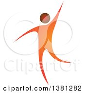 Clipart Of A Happy Orange Man Dancing Or Waving Royalty Free Vector Illustration