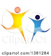 Clipart Of A Blue And Orange Couple Dancing Royalty Free Vector Illustration by ColorMagic