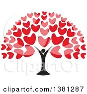 Clipart Of A Black Person Tree Trunk With Red Heart Foliage Royalty Free Vector Illustration