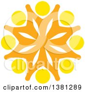 Clipart Of A Teamwork Unity Group Of Yellow And Orange People Royalty Free Vector Illustration