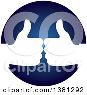 Clipart Of White Hands Giving Thumbs Up In A Blue Circle Royalty Free Vector Illustration by ColorMagic