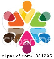 Clipart Of A Teamwork Unity Circle Of Colorful Diverse People Royalty Free Vector Illustration