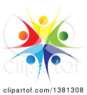 Clipart Of A Teamwork Unity Circle Of Colorful Diverse People Royalty Free Vector Illustration by ColorMagic #COLLC1381308-0187
