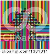 Clipart Of A Colorful Polka Dot House Over Stripes Royalty Free Vector Illustration