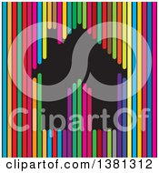 Clipart Of A Black Home In Colorful Lines Royalty Free Vector Illustration