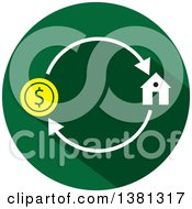 Clipart Of A Flat Design Round Home Purchase Icon Royalty Free Vector Illustration