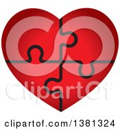 Clipart Of A Gradient Red Puzzle Heart Royalty Free Vector Illustration