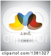 Clipart Of Colorful Overlapping Hearts On Gray With Love Text Royalty Free Vector Illustration