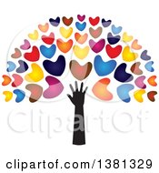 Clipart Of A Black Arm With Colorful Tree Heart Foliage Royalty Free Vector Illustration