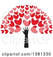 Black Arm With Red Tree Heart Foliage