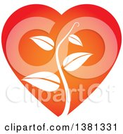 Clipart Of A White Vine In A Gradient Heart Royalty Free Vector Illustration