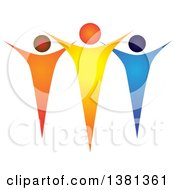 Clipart Of A Teamwork Unity Group Of Colorful People Royalty Free Vector Illustration