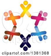 Clipart Of A Teamwork Unity Circle Of Colorful Diverse People Royalty Free Vector Illustration by ColorMagic