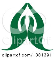 Clipart Of A Pair Of Green Prayer Or Namaste Hands Royalty Free Vector Illustration by ColorMagic