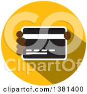 Clipart Of A Flat Design Round Credit Card Icon Royalty Free Vector Illustration
